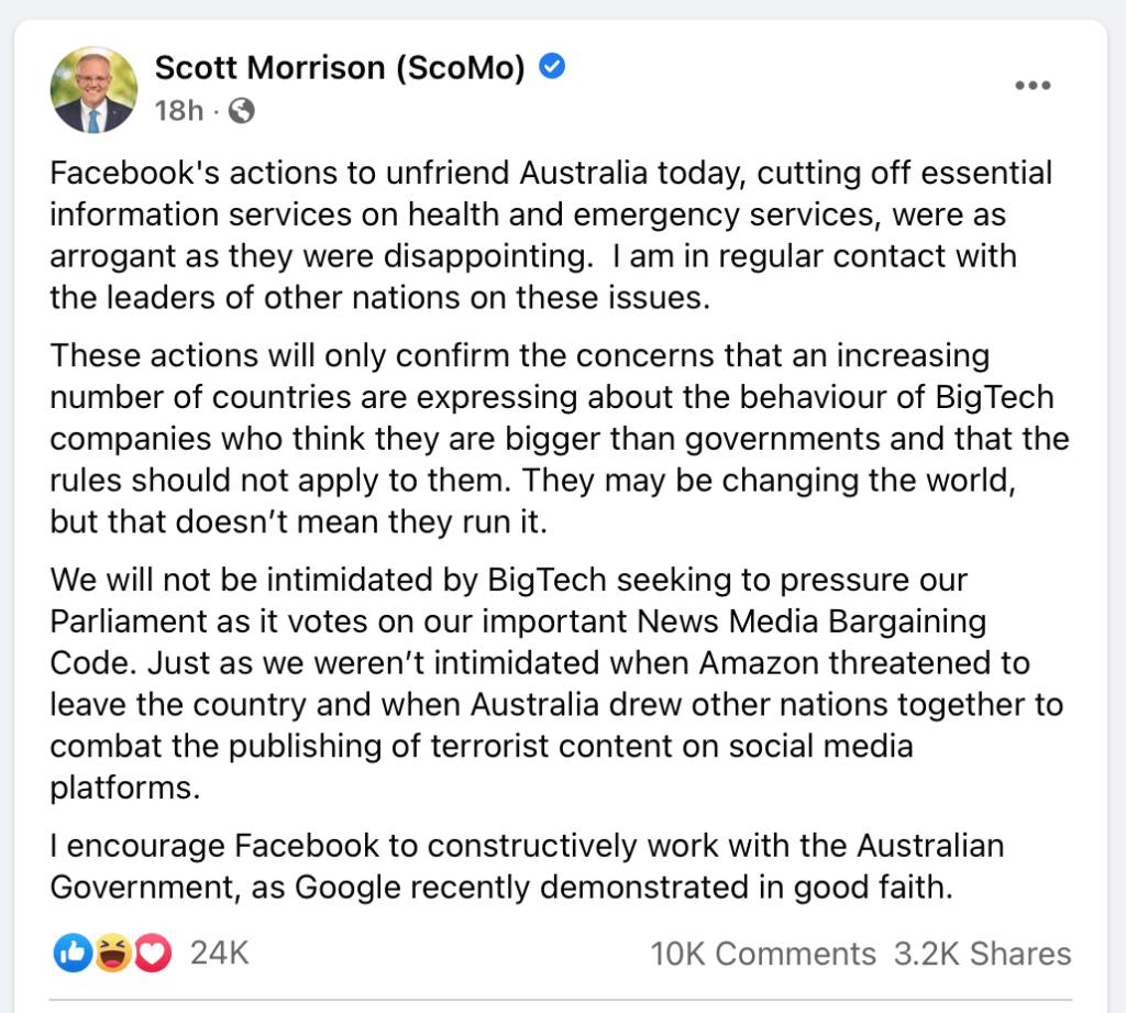 Prime Minister of Australia, Scott Morrison (ScoMo) slams facebook, lashing out his opinion about News/Media company censorship on the Facebook platform. News Media Bargaining Code ACCC.